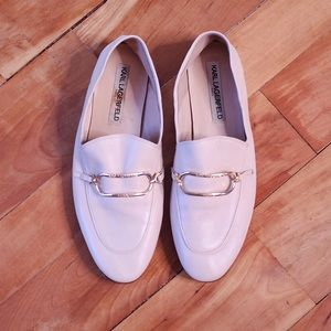 Karl Lagerfeld Cream Flat Loafers Size 10